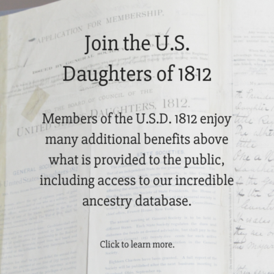 National Society United States Daughters of 1812 - Founded 1892