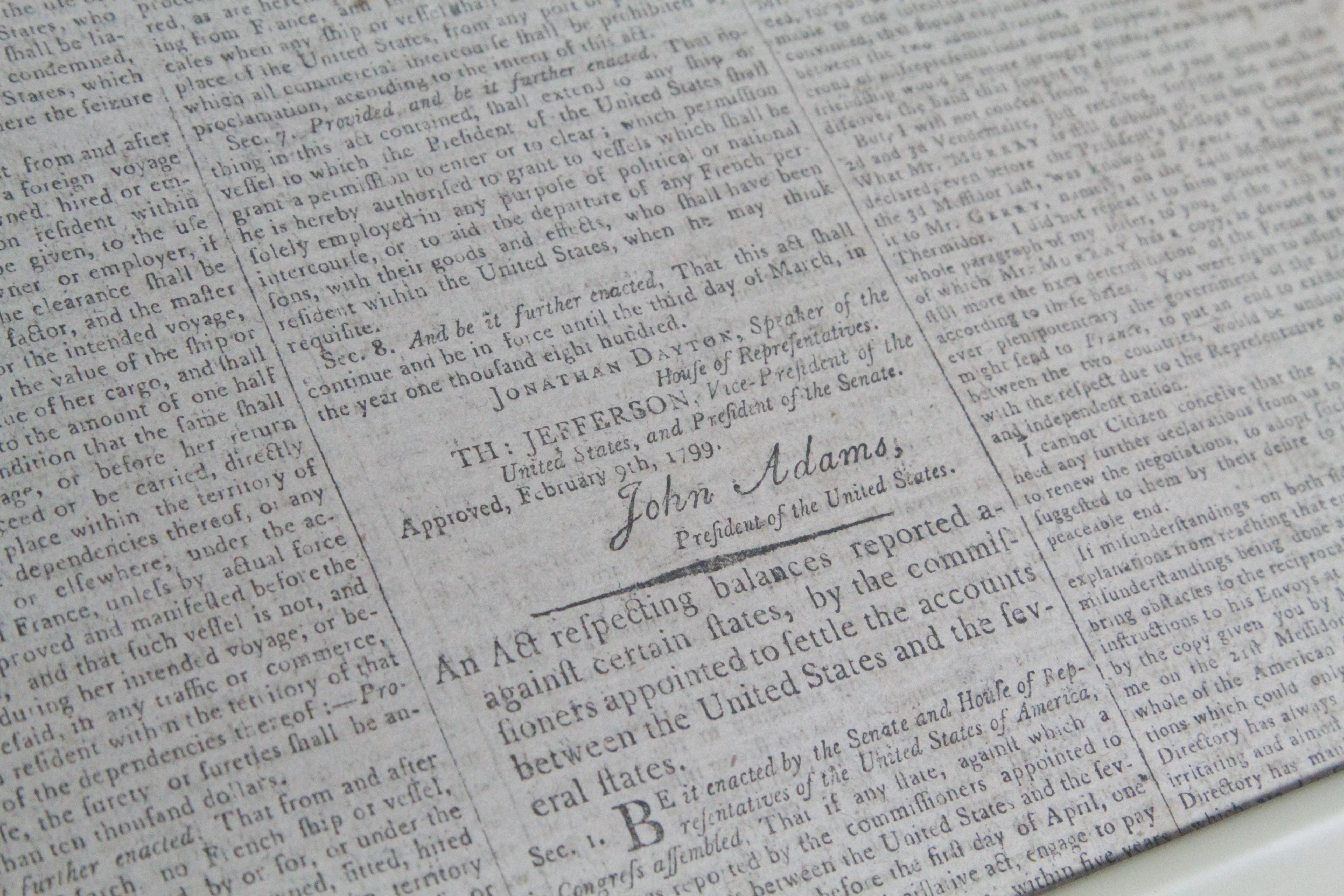 1812 Memorial Library - John Adams Signature in Newspaper