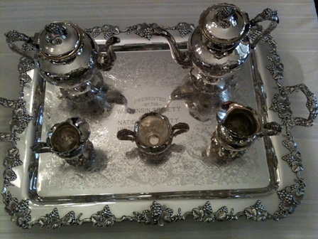 Silver service from the Wisconsin Society used annually at the Tea Party at National Headquarters.